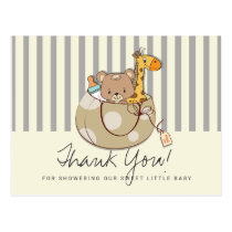 Soft Gray Baby Animals Baby Shower Thank You Postcard