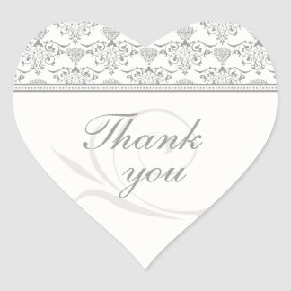 Soft gray chic damask wedding thank you stickers