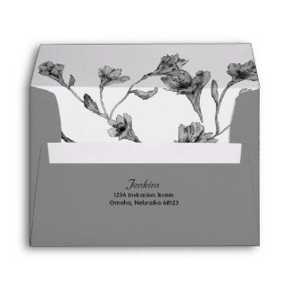 Soft Gray Clematis Watercolor Floral Wedding Envelope