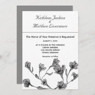 Soft Gray Clematis Watercolor Floral Wedding Invitation