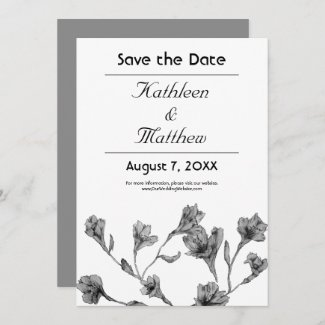 Soft Gray Clematis Watercolor Floral Wedding Save The Date