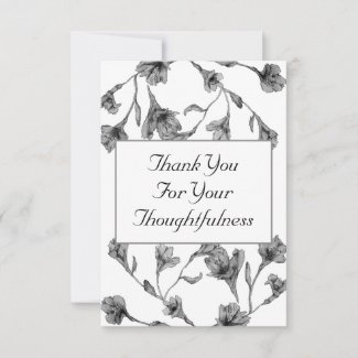 Soft Gray Clematis Watercolor Floral Wedding Thank You Card