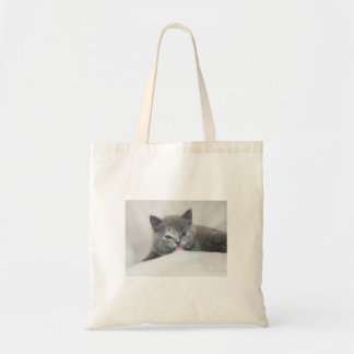 Soft Gray Kitty Canvas Bags
