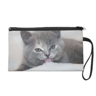 Soft Gray Kitty Wristlet Purse