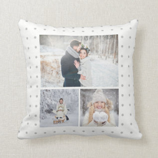 Soft Gray Polka Dots With Three Photo Grid Throw Pillow at Zazzle