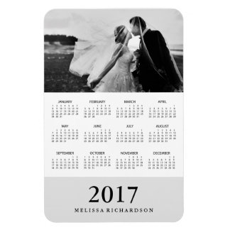 Soft Gray Stripe | Elegant 2017 Photo Calendar Magnet