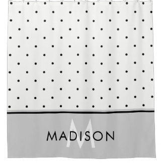 Gray Polka Dots Shower Curtains | Zazzle