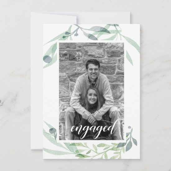 Soft Green and Blue Botanicals Photo Save the Date