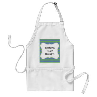 Soft Green and Blue Purple Striped Pattern Adult Apron
