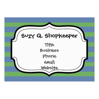 Soft Green and Blue Purple Striped Pattern Business Card