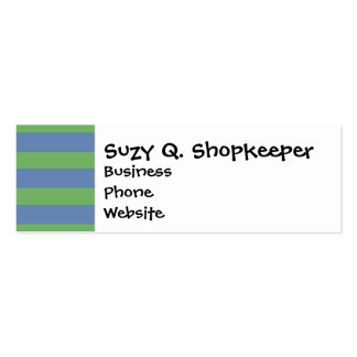 Soft Green and Blue Purple Striped Pattern Double-Sided Mini Business Cards (Pack Of 20)