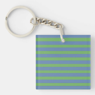 Soft Green and Blue Purple Striped Pattern Keychain