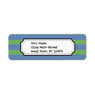 Soft Green and Blue Purple Striped Pattern Label