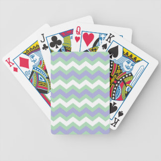 Soft Green and Blues Zigzags Bicycle Playing Cards