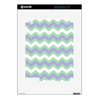 Soft Green and Blues Zigzags Decals For The iPad 2