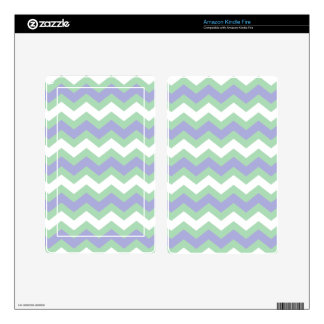 Soft Green and Blues Zigzags Kindle Fire Decal