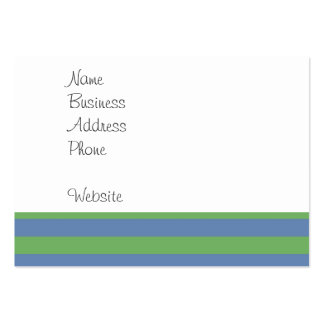 Soft Green and Periwinkle Striped Pattern Large Business Cards (Pack Of 100)