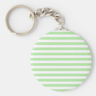 Soft Green and White Stripes Keychain