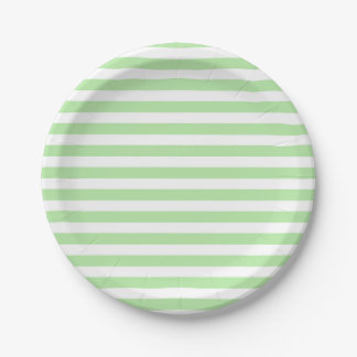 Soft Green and White Stripes Paper Plates