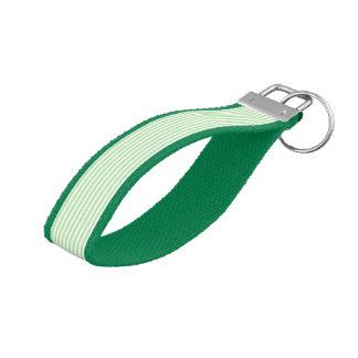Soft Green and White Stripes Wrist Keychain