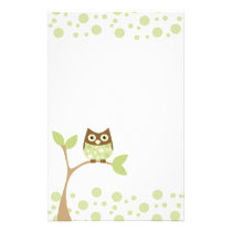Soft Green Baby Owl Stationery