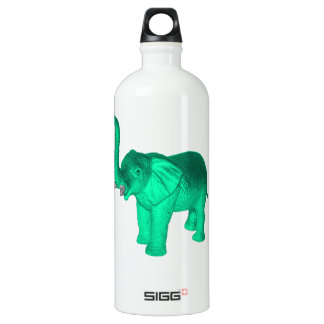Soft Green Elephant Aluminum Water Bottle