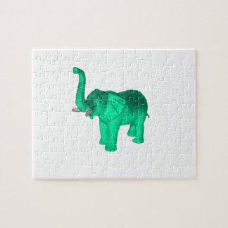 Soft Green Elephant Jigsaw Puzzles