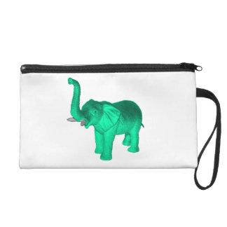 Soft Green Elephant Wristlet