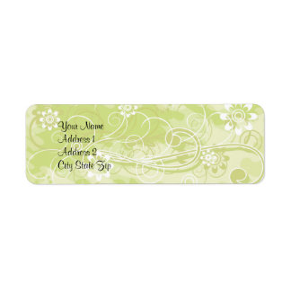 Soft Green Floral and Swirl Pattern Address Lables Label