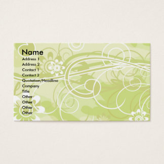 Soft Green Floral and Swirl Pattern Business Card