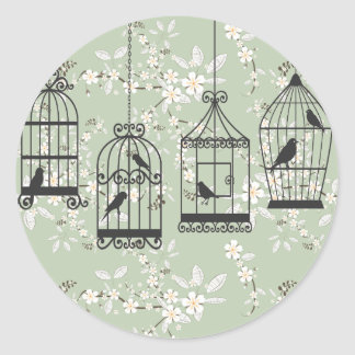 Soft Green Floral With Birdcages Classic Round Sticker