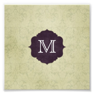 Soft Green Floral Wood Purple Monogram Photo
