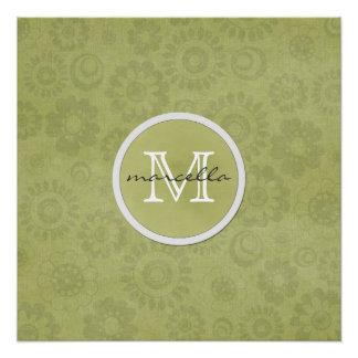 Soft Green Flowers Monogram Poster