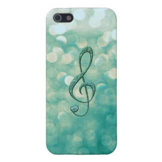Soft Green Glitter Stone Music Treble Clef Case For iPhone 5