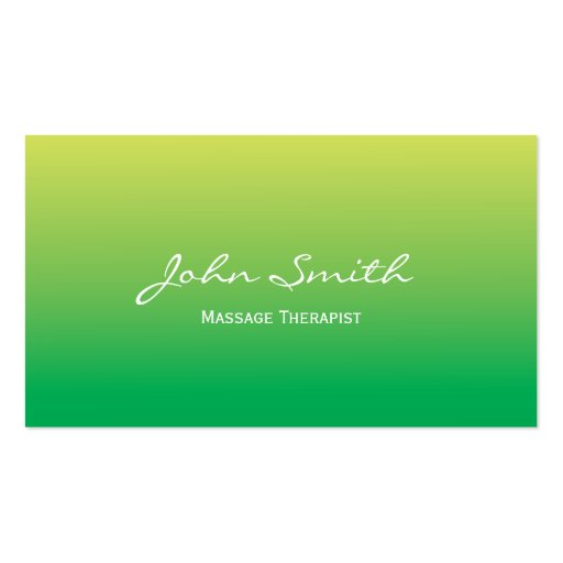 Soft Green Massage Therapist Business Card