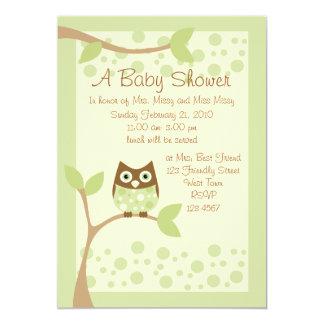 Soft Green Owl Baby Shower Invitation