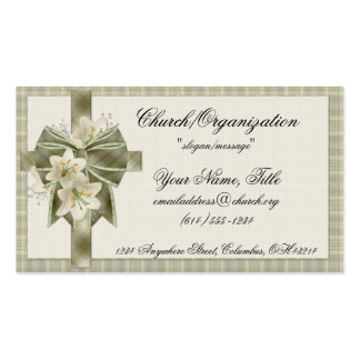 Soft Green Plaid Cross w/Flowers Business Cards