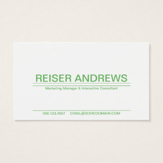 soft green striped business card