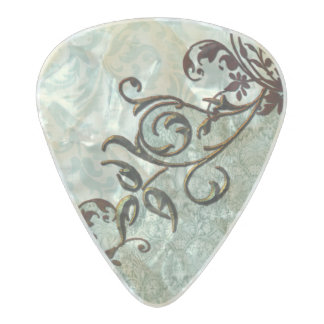 Soft green vintage art with floral elements pearl celluloid guitar pick