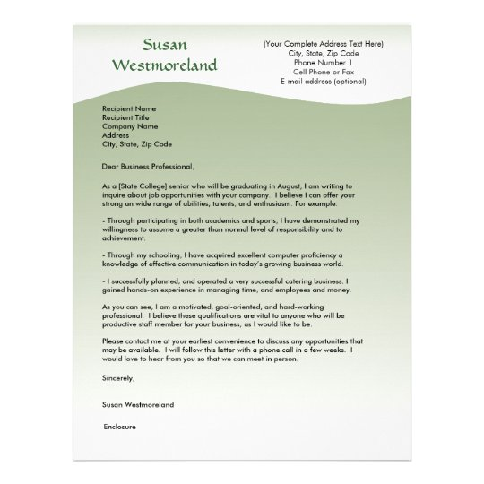 Soft green Wave Custom Cover Letter Template Letterhead   Zazzle.com