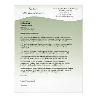 Soft green Wave Custom Cover Letter Template Custom Letterhead