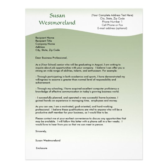 soft green wave custom cover letter template letterhead - Cover Letter Letterhead