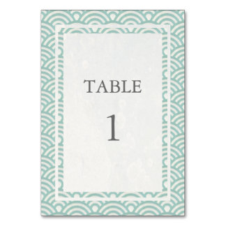 Soft Green + White Japanese Seigha Table Number Card