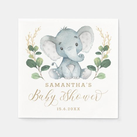 Soft Greenery Elephant Green Gold Baby Shower Napkins