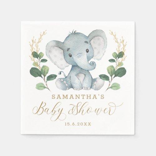 Soft Greenery Elephant Green Gold Baby Shower Napkins