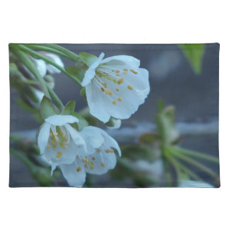 soft grey cloth place mat with Cherry Blossom pic