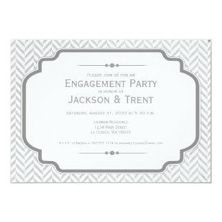 Soft Grey Herringbone Engagement Invitation