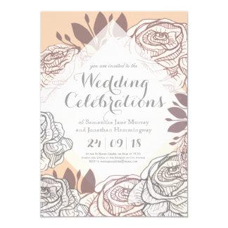 Soft Grey Rose Drawing Spring Wedding Invitation