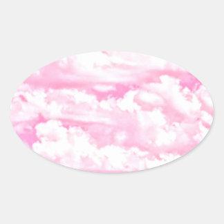 Soft Happy Rose Clouds Decor Oval Sticker