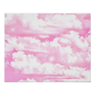 Soft Happy Rose Clouds Decor Poster